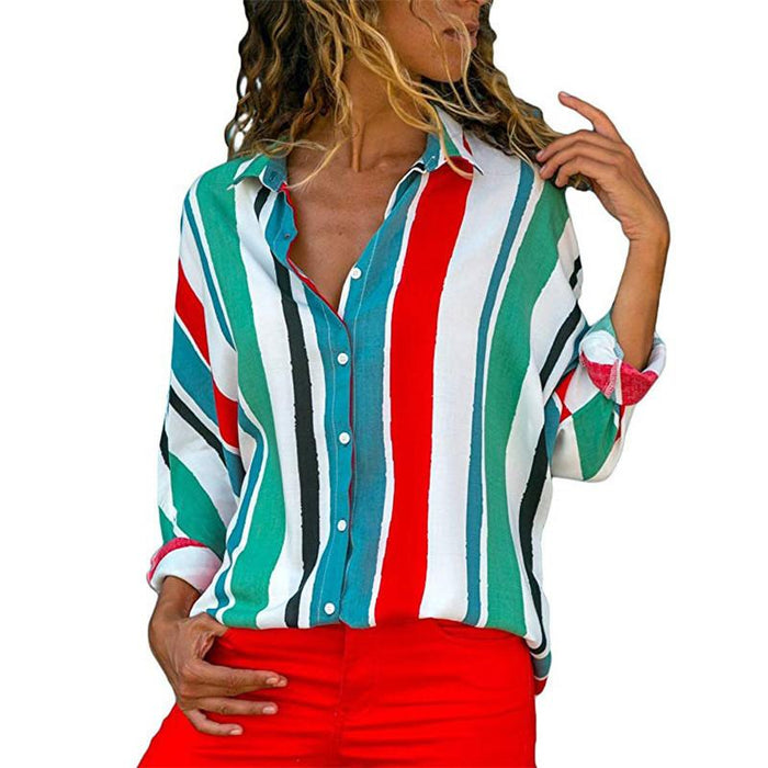 Striped Long Sleeve V-neck Chiffon Shirt Ladies Top