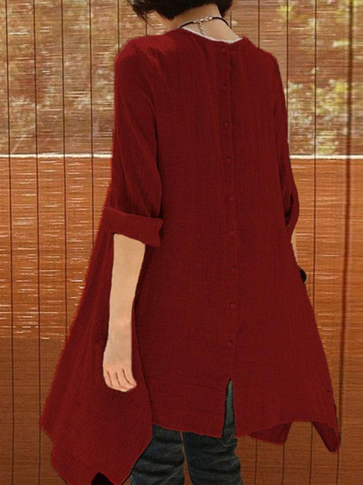 2018 Autumn New Solid Color Long-sleeved Studded Large Size Cotton and Linen Dress