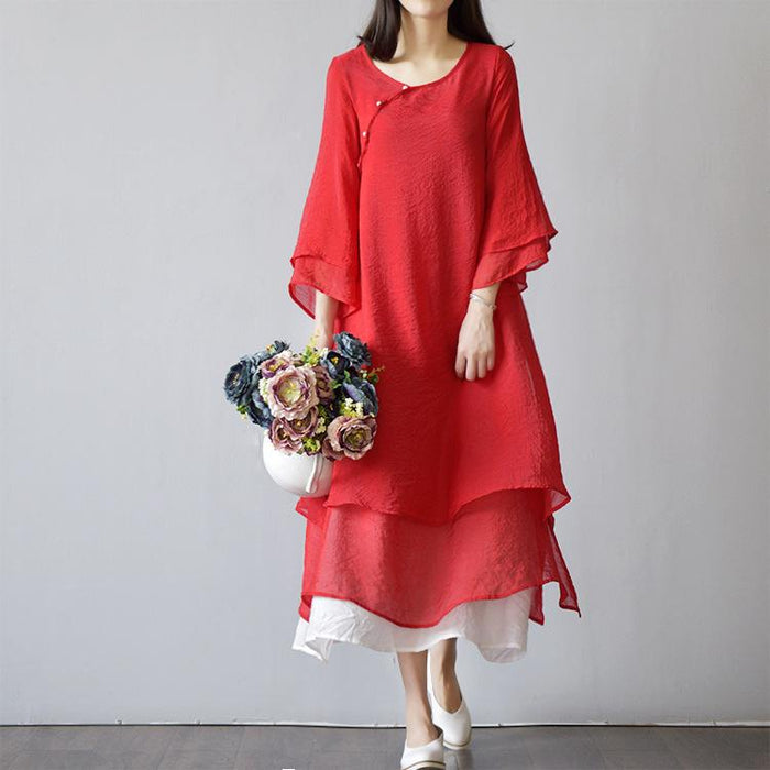 Cotton and Linen Literary Double-decker Retro Mori Women's Loose and Elegant Dress