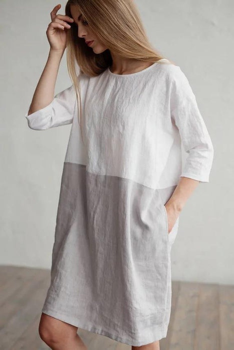 2019 Loose Solid Color Cotton and Linen Stitching Dress Round Neck Seven-point Sleeve Skirt Tunic New Style