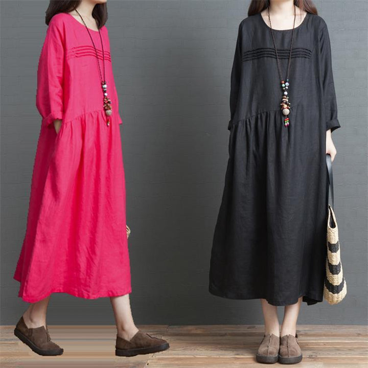 2019 Early Autumn Literary Retro Large Size Long Sleeve Solid Color Linen Dress Fat MM Loose Foreign Gas Knee Long Dress