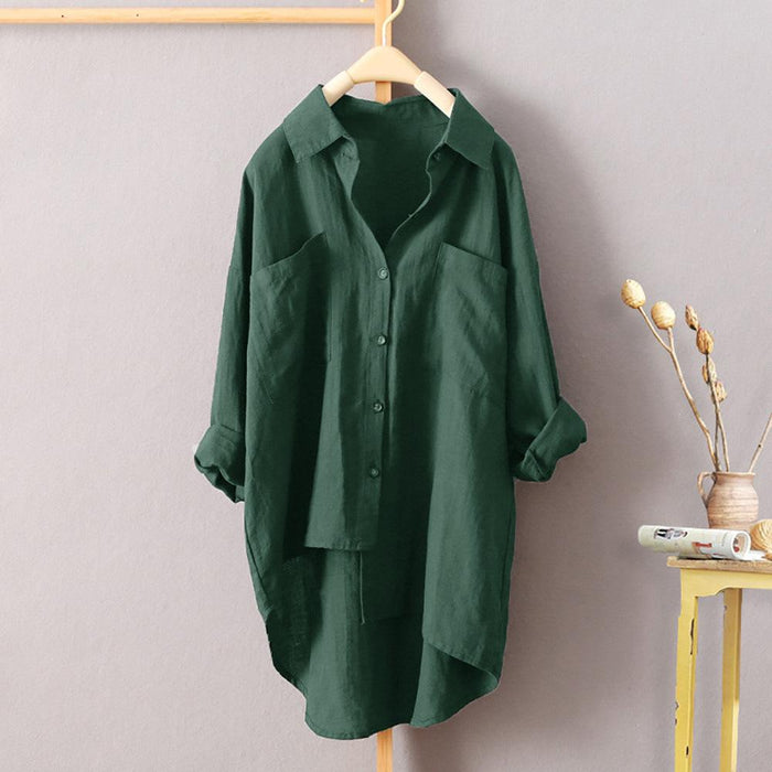 Women's Casual Wind Solid Color Shirt Autumn Cotton Cardigan Double Pocket Long-sleeved Shirt 7 Color 8 Yards