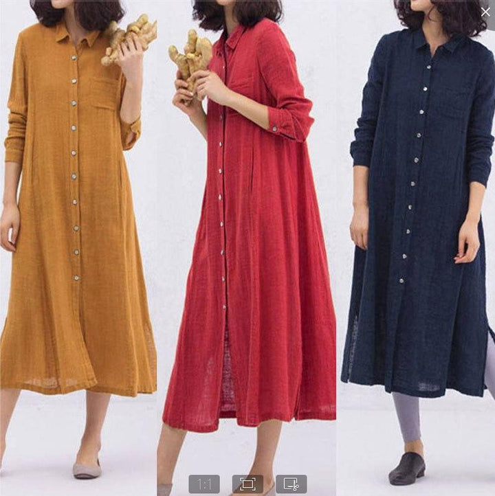 2019 European and American Women's Long-sleeved Lapel Large Size Dress Solid Color Cotton and Linen Split Skirt