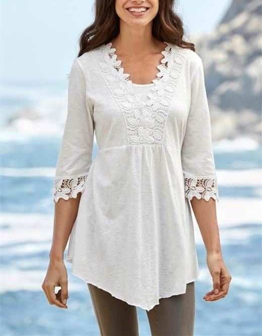2019 Women's Lace Stitching Five-point Sleeves Slim T-shirt Tops Women