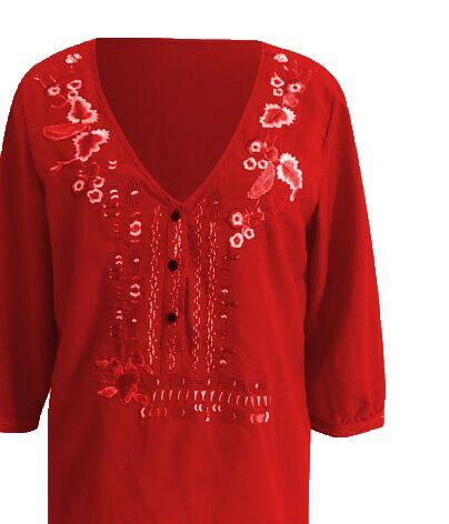 Fanbety Women Embroidery Bohemian Blouse Shirt Elegant Sexy V Neck Ethnic Style  Blusas Summer Casual three quarter Boho Blouses