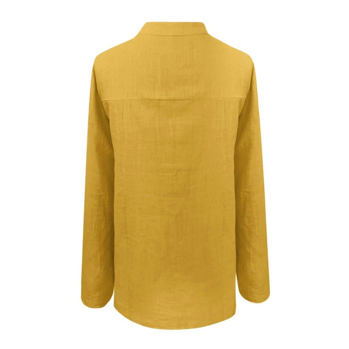 Plus Size Fashion Linen Blend Blouse Casual Winter Pleated Solid V-Neck Basic Top Female Women Long Sleeve Shirt Blusas Pullover