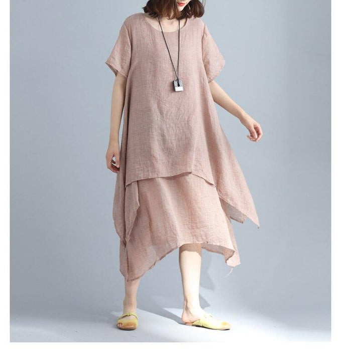 New Comfortable Short Sleeves Women Dress O-neck Linen Cotton Lady Dress Fashion Warm Mid-calf Loose Dress