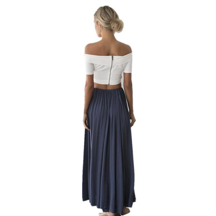 2019 Maxi Skirt Women Boho High Chiffon Skirt Ladies Long Solid Pleated Ruffle Skirt