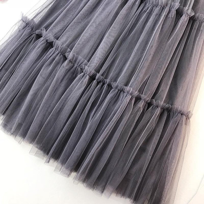 Women's Summer Tulle Skirt Summer 2019 Women's Patchwork Tutu Skirt High Waist Mesh Midi Skirt