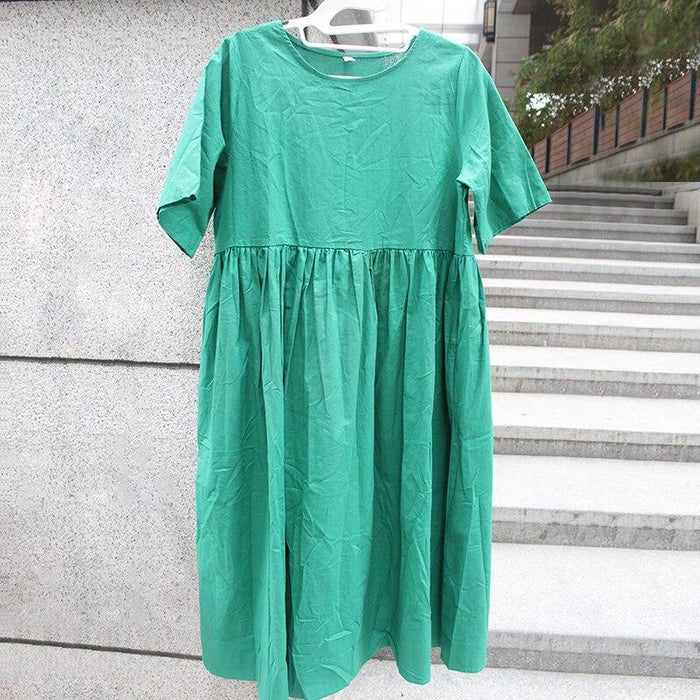 Plusee Dress Plus Size 2XL Women Green Indie Folk Trumpet Ankle-Length Round Neck Standard-Waist Pullover Plain Oversize Dress