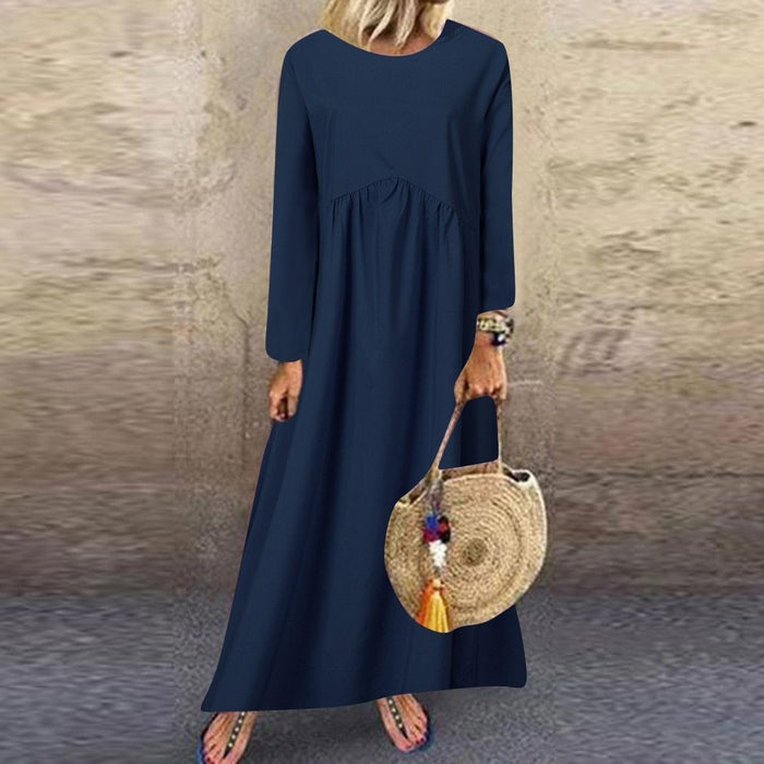 2019 Autumn New Plus Size New Women Fashion Elegant Long Sleeve O-neck Solid Color Maxi Casual Dress Female Vestidos