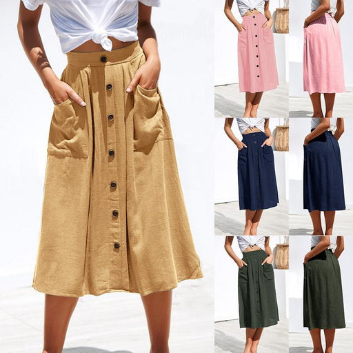 2019 Autumn Summer Fashion Casual Women Skirt Pure Color High Waist Single Midi Skirt