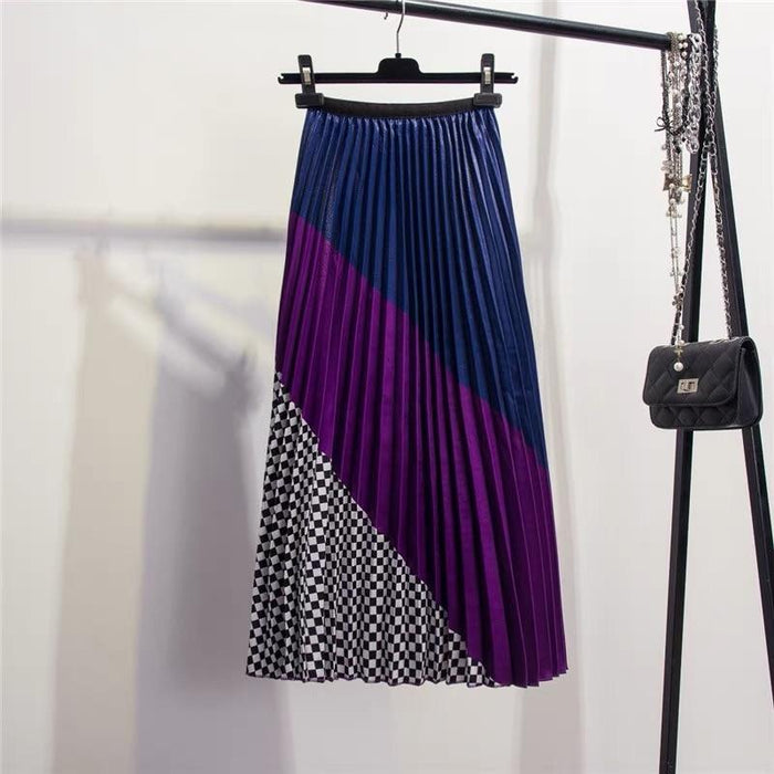 2019 Europen Color Matching Plaid Spring Skirt Spring