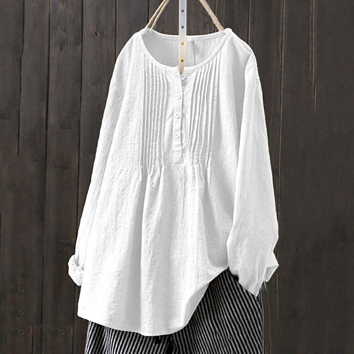 New Casual Solid Color O-neck Button Up Long Sleeve Summer Loose Women Top Blouse