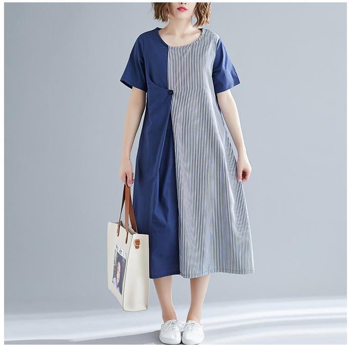 2019 Summer New Loose Large Size Literary Women's Long Striped Short-sleeved Dress Female
