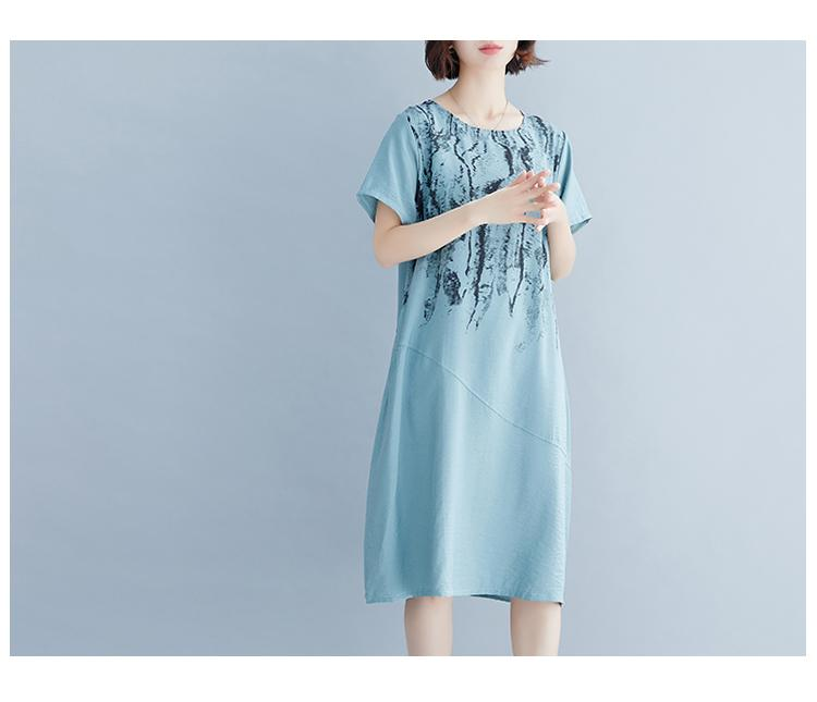 Large Size Women's Summer Dress Short-sleeved Knee-length Dress