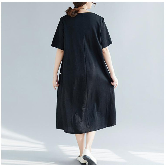 Summer Large Size Loose Thin Mid-length Short-sleeved Dress Women's Clothing