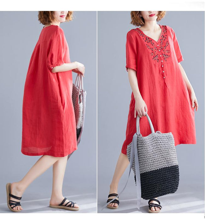 Summer Women's Cotton and Linen Long Paragraph Large Size Short-sleeved Embroidered Waist Dress