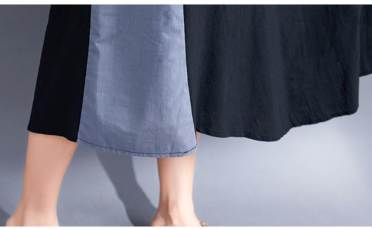 Autumn New Two-color Stitching Literary Loose Cotton Skirt In The Long Paragraph Large Size Women's Dress