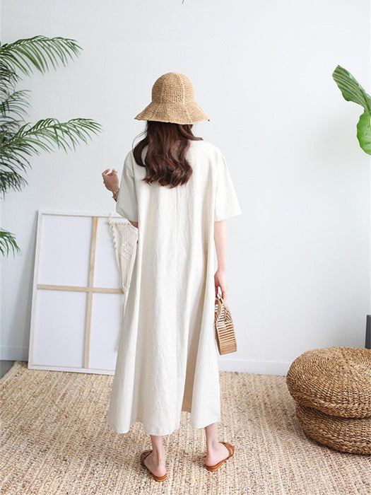 Loose Waist V-neck Slim Short-sleeved Dress Patch Pocket Long Holiday Casual Linen Big Swing Skirt