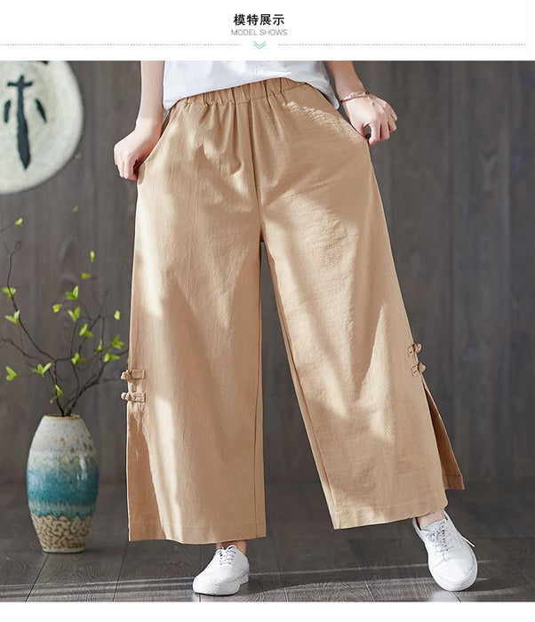 2019 Cotton and Linen Wide-leg Pants National Wind Retro Literary Disc Buckle Large Size Loose Pants