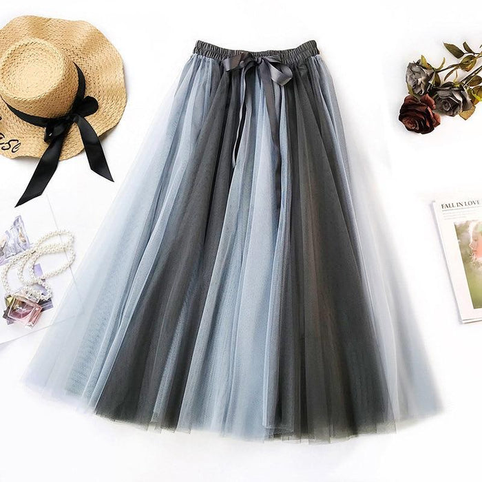 Spring Summer 2019 Contrast Color Adult Long Tulle Skirts Women Pleated Maxi Skirt