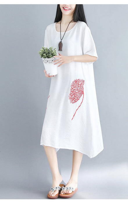 2019 Summer Large Size Linen Cotton Embroidery Embroidery Short Sleeve Loose Midi Dress