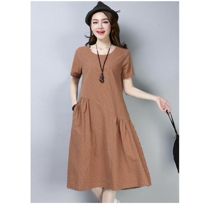 Women's 2019 Summer New Cotton and Linen Short-sleeved Dress Round Neck Striped Long Dress