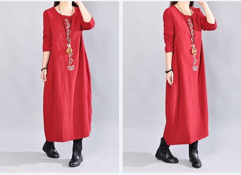 2019 Early Autumn New Literary Large Size Women's Loose Round Neck Long Embroidered Long-sleeved Cotton and Linen Dress