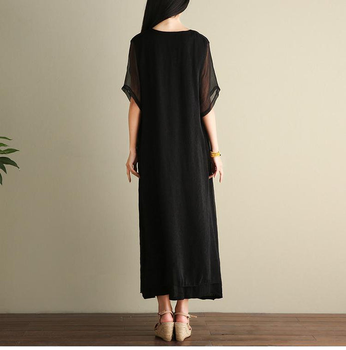 Summer New Product Large Size Women's National Wind Cotton and Linen Dress Long Paragraph Fake Two Pieces