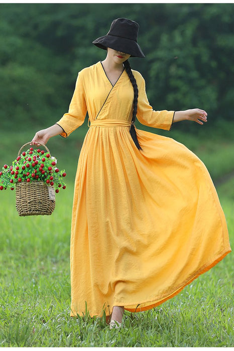 2019 New Silk and Linen Large Size Literary Retro V-neck Holiday Dress Waist Slimming Women's Long Dress