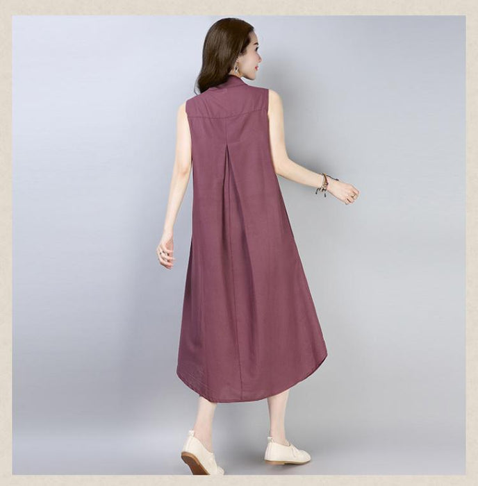 2019 Summer New Cotton and Linen Large Size Sleeveless Round Neck Dress In The Long Paragraph Large Size Women's Dress
