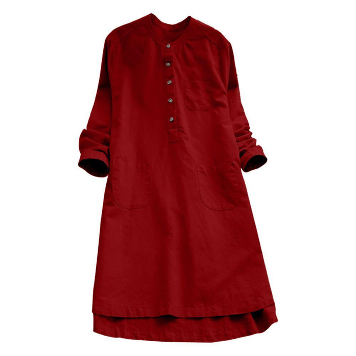 Women Dress 2019 Retro Long Sleeve Dress Flax Casual Loose Button Tops Blouse  Shirt Dress F40