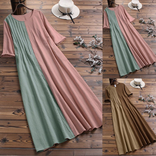 Women's Long Casual Cotton Dresses and Linen O-Neck Short Sleeve Patchwork Loose Dress Plus Size