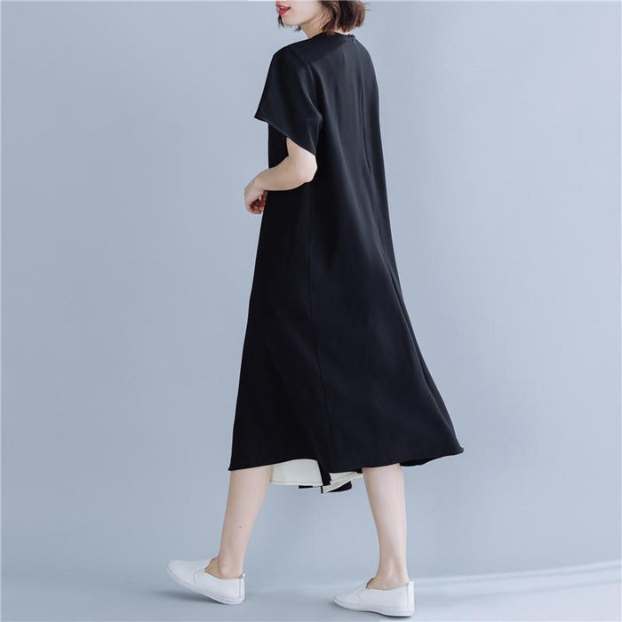 Temperament Commuter Large Size Dress 2019 Summer Short Sleeve Stitching Color Large Swing Skirt Midi Skirt