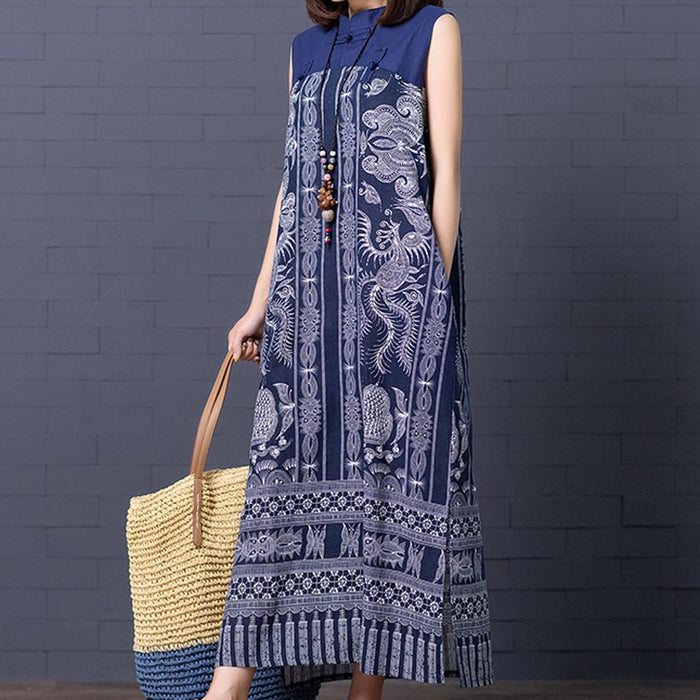 COD Korean Women Printed Loose Cotton Linen O-neck sleeveless Plus size Casual Long Dress