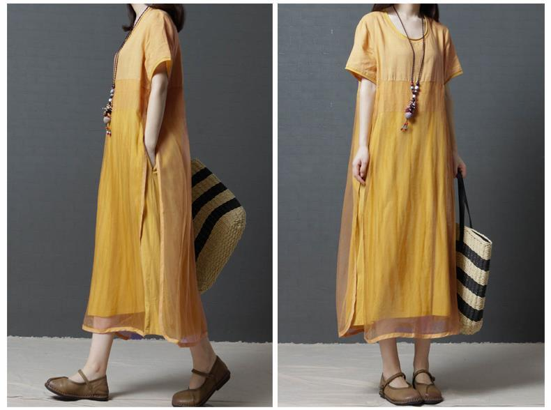 Summer New 2019 Loose Large Size Women's Fashion Fake Two Long Section Over The Knee Linen Dress Female