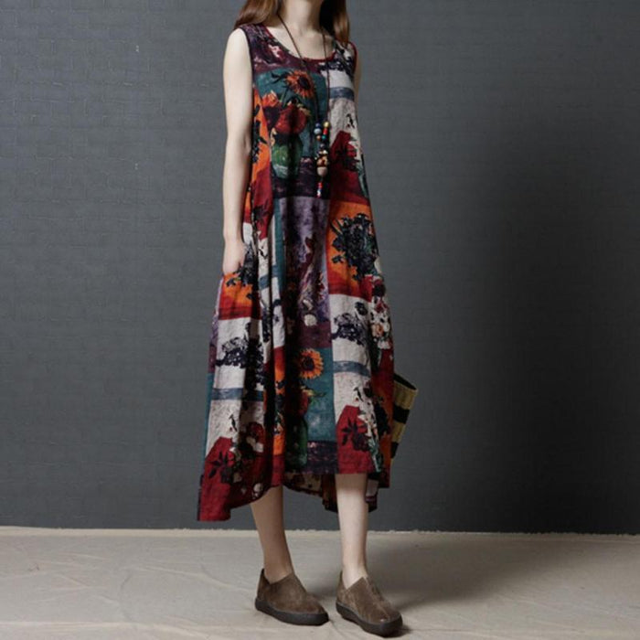 Gamblestore Women Cotton And Linen Loose O-Neck  Sleeveless Printing Dress