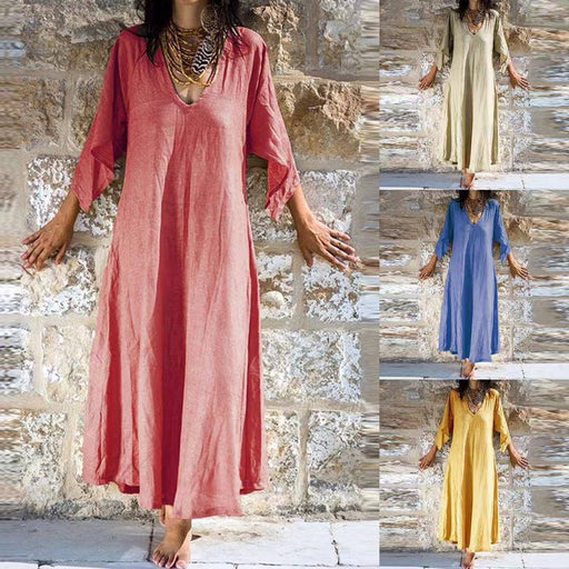 2019 summer cotton and linen large size dress