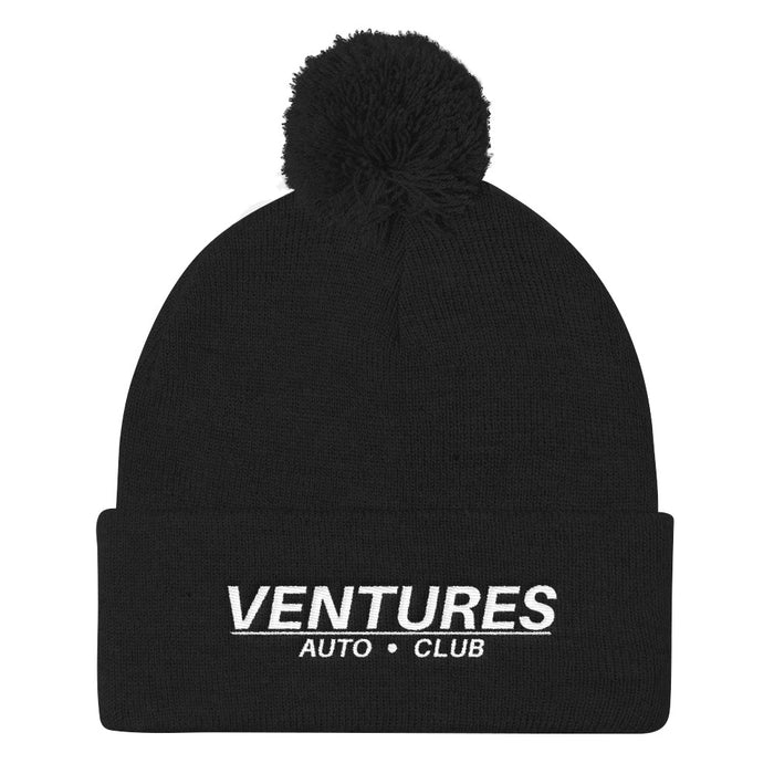 Ventures Auto Club® Black Pom Pom Beanie