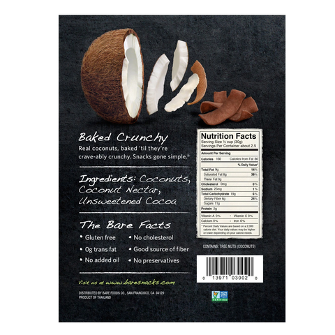 bare snacks choc coconut fruit chips nutritional facts
