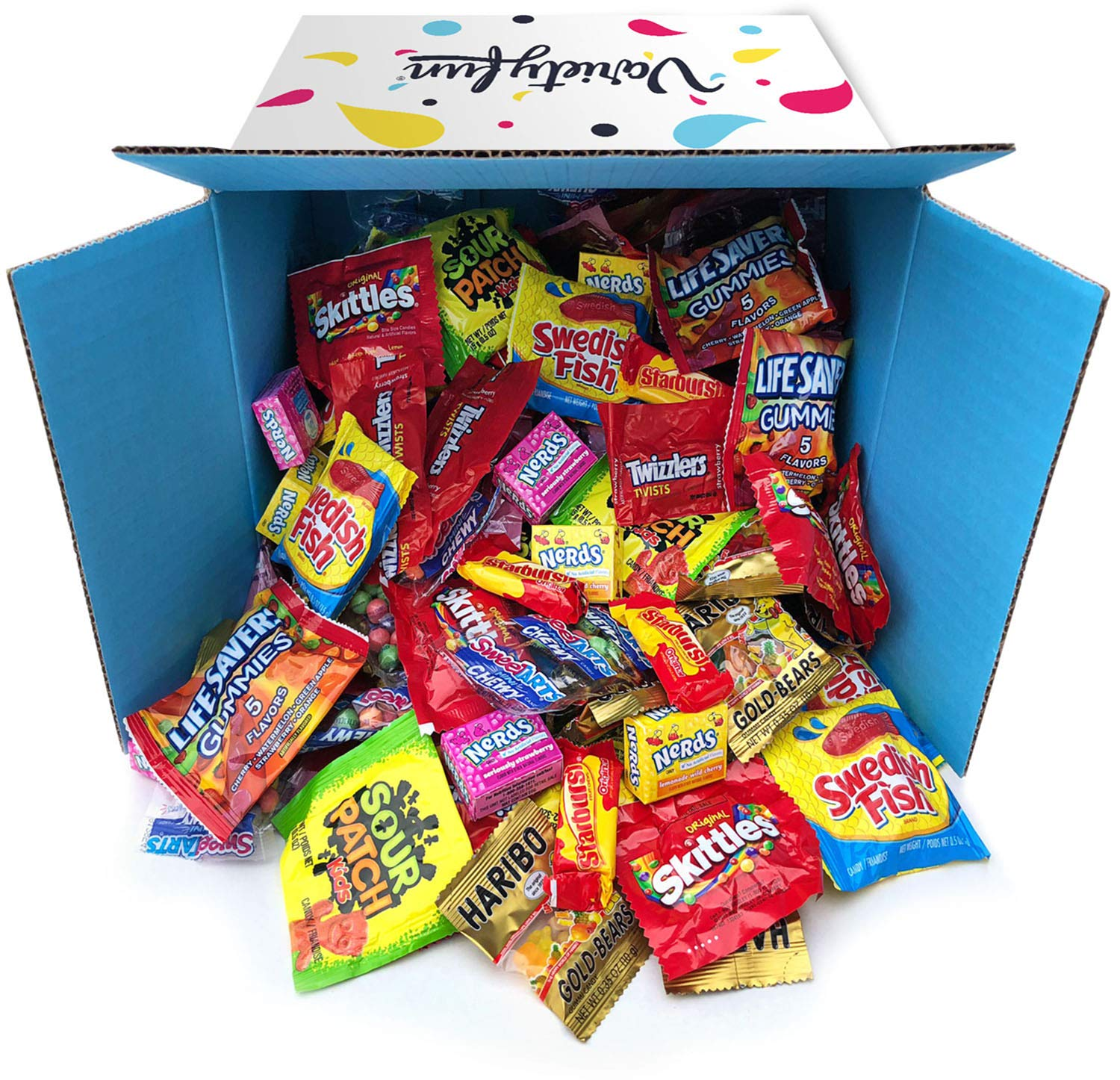 Box open and tipped on its side with fun-size candy packets from familiar brands spilling out.