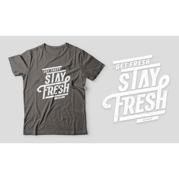 Fitted Men's T-Shirt with Distressed Get Fresh Stay Fresh Design