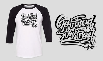 Fitted Men's White & Black 3/4 Quarter Sleeve Graffiti GFSF T-Shirt