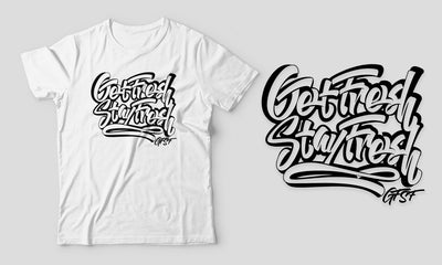 Fitted Men's White/Orange Graffiti GFSF T-Shirt