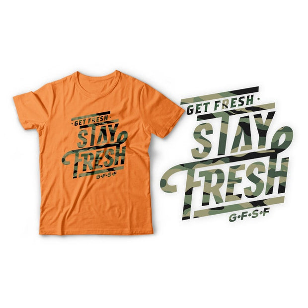 Fitted Men's White/Cream/Orange/Neon Green T-Shirt with Camo Design