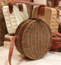 Load image into Gallery viewer, Bamboo round shaped handbag