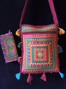 Kutchi shopping sling bag with lovely Kutchi clutch