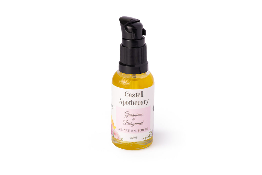 Castell Apothecary Natural Geranium & Bergamot Body Oil 30ml