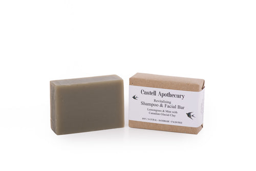 Castell Apothecary Lemongrass & Mint Canadian Glacial Clay Hair & Facial Cleansing Bar
